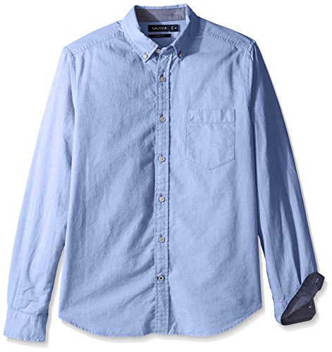 Nautica Men's Big and Tall Long Sleeve Button Down Solid Oxford Shirt, French Blue, 5X