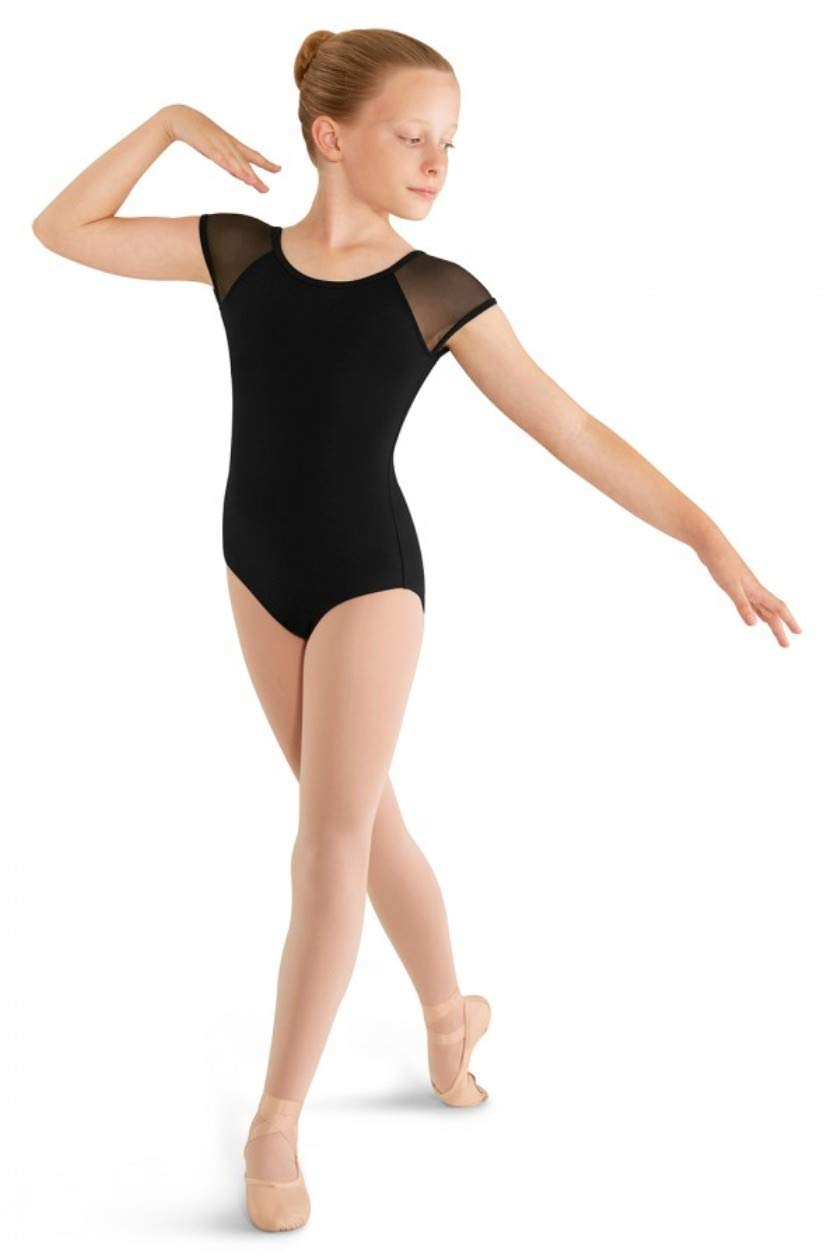 Mirella Girls Soft Mesh Cap Sleeve Dance Leotard by Mirella