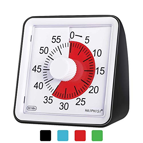 60 Minute Visual Analog Timer-Classroom Countdown timer for Kids and Adults,Time Management Tool for Teaching Cooking Homework Meeting Games,No Loud Ticking(Black)