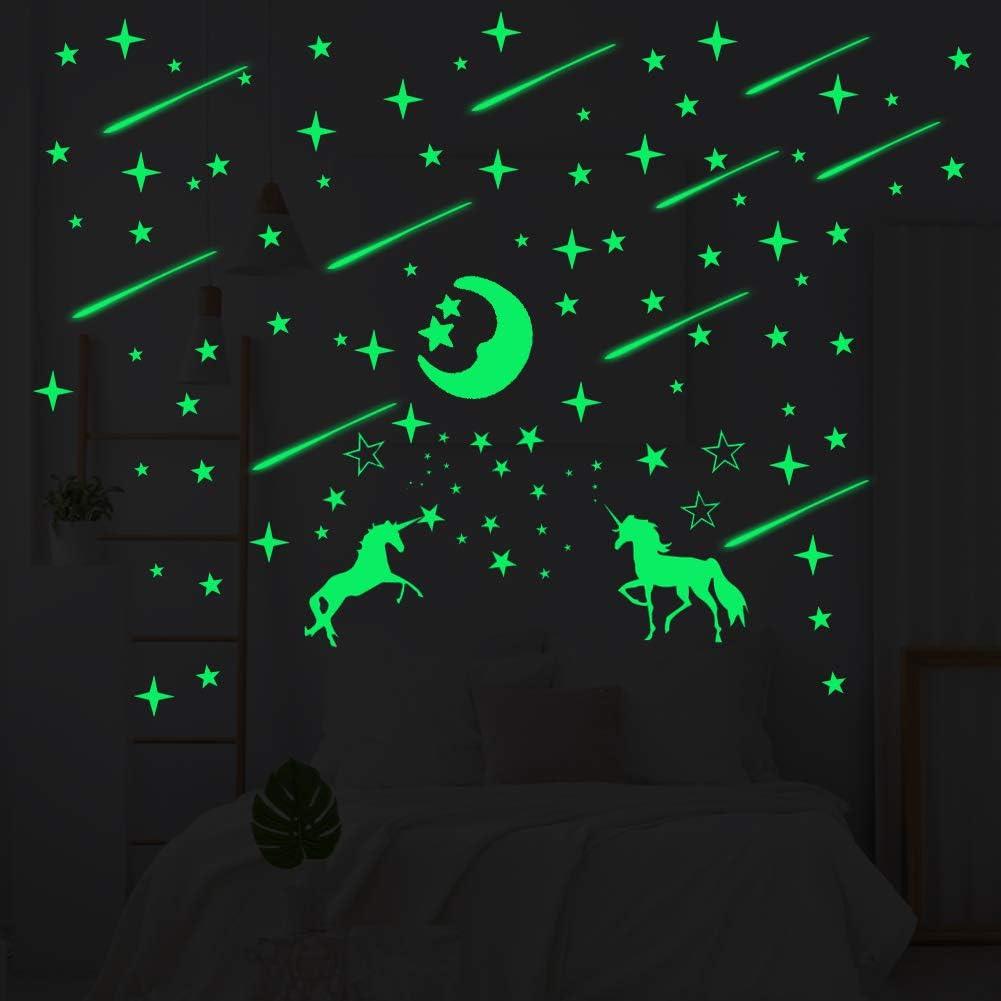 Estrellas Fuorescentes Moon and unicornio fluorescente, DIY Luminous Wall Sticker Autoadhesivo Glow Sticker para habitación de niños y decoración del hogar (245 piezas)