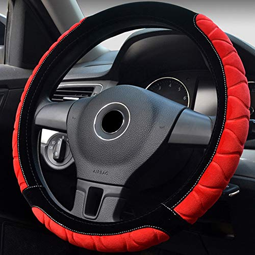 (BAUZEIT Universal Plush Car Steering Wheel Covers for Women & Girl 15 inch/37-38cm Protector - Faux Wool Leather Winter Warm Soft Cover Protection for Auto SUV Vehicles Truck Lorry Van, Black & Red)