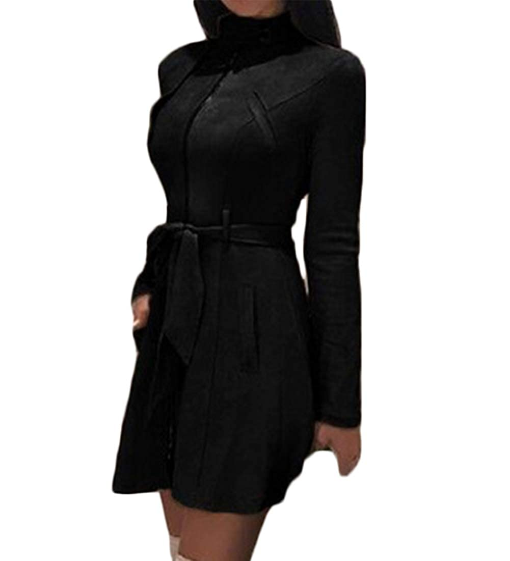 leveltech Womens Stand Collar Lightweight Zip Up Suede Long Duster Jacket Trench Coat with Belt