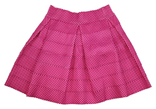 (Oober Swank Pin Dot Print Pleated Skirt (Large, Pink) )
