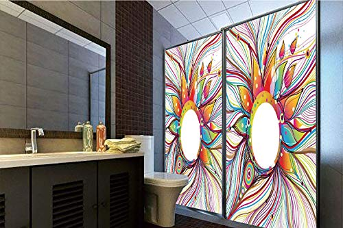 Horrisophie dodo No Glue Static Cling Glass Sticker,Abstract Decor,Vector Smoky Wavy Floral Design with Rainbow Alike Stripes and Lines,Multi Colored,39.37