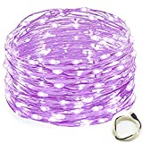 USB String Lights, OFTEN 33ft/10M 100LEDs Copper Wire Starry LED String Lights Silver for Christmas Wedding Party Club Home Indoor Outdoor Decorating (Purple)