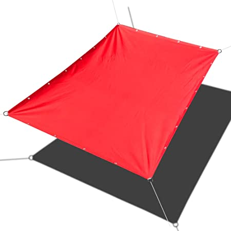 Alion Home Custom Sizes Straight Edge PU Waterproof Woven Sun Shade Sail for Car Tent, Carport, Canopy, Patio, Awning, Window, Pergola, Gazebo and RV 9.5 x 12 , Tomato Red