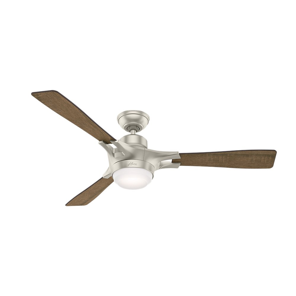 Hunter 59378 Signal Ceiling Fan with Light with Integrated Control System, 54-inch, Matte Nickel, works with Alexa