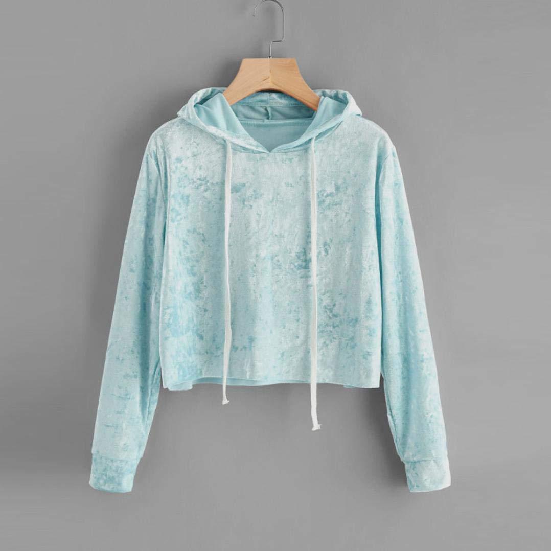 Spbamboo Womens Long Sleeve Hoodie Sweatshirt Jumper Pullover Tops Velvet Blouse by Spbamboo (Image #2)