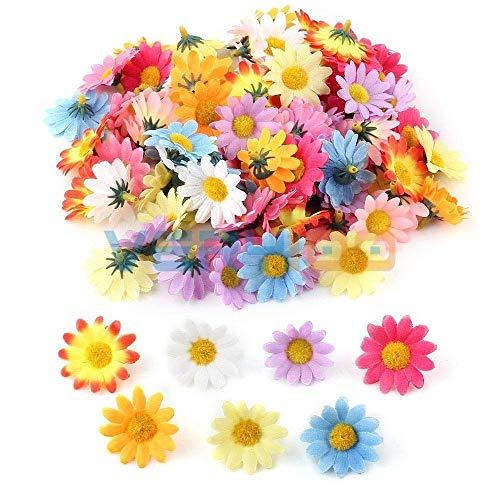 Gerbera Daisy Decorations - MICKYMIN Lot Multicolor Artificial Gerbera Daisy Silk Flowers Heads for DIY Wedding Party Decoration 100Pcs