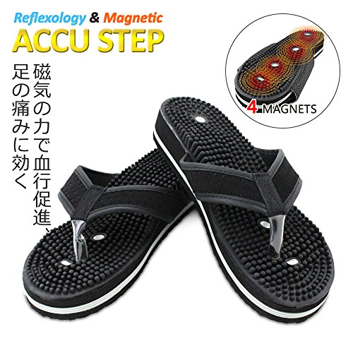U.S. Jaclean Foot Reflexology Sandals for Mens Womens Therapeutic Acupressure Magnetic Massaging Sandals Slippers Accu Step Y-Strap (Small) by U.S. Jaclean