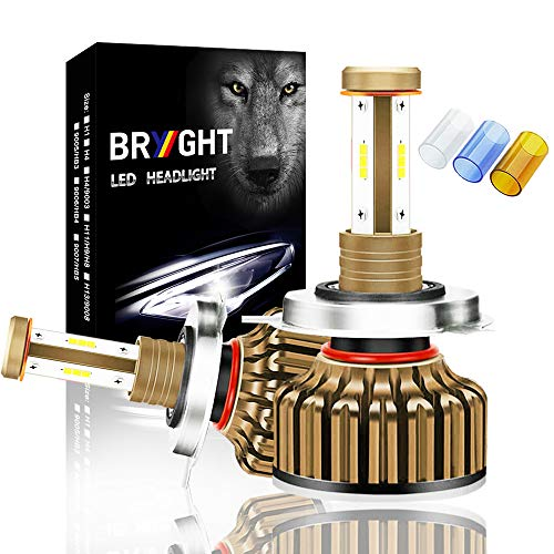 BRYGHT H4 LED Headlight Bulbs High Power 12000LM 9003 HB2 Led Bulb Hi/Lo Dual Beam Pattern Conversion Kit 6500K White,3600K Yellow,10000K Ice Blue, 2 Year Warranty (1 Pair)