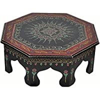 Lalhaveli Handmade Home Décor Wooden Pooja Chowki Black Color 17 X 17 X 6 Inches