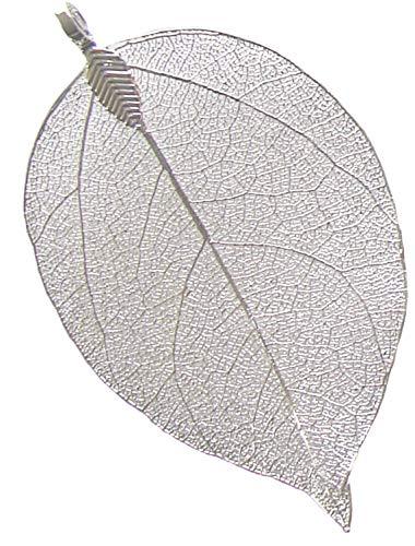 Sterling Silver Wide Ribbon Filigree - Leaf Pendant - Natural Electroplated Filigree Metal Leaf BEEZZY BEEDZ (.925 Sterling Silver plated)