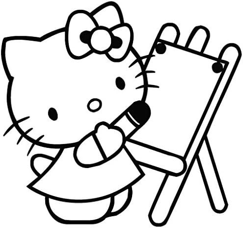 Hello Kitty dibujar - Carcasa de Vinilo [15 cm negro] extraíble de ...