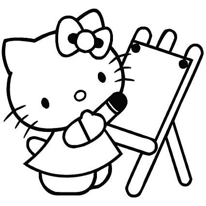 Hello Kitty dibujar - Carcasa de Vinilo [15 cm negro] extraíble de vinilo adhesivo