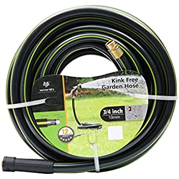 Worth Garden 3/4 x 75ft Water Hose - Durable Non Kinking Garden Hose - PVC Material with Brass Hose Fittings - Flexible Hose for Household and Professional Use