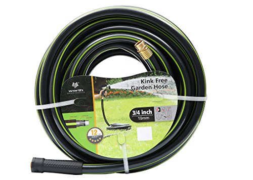 Worth Garden 3/4 x 75ft Water Hose – Durable Non Kinking Garden Hose – PVC Material with Brass Hose Fittings – Flexible Hose for Household and Professional Use