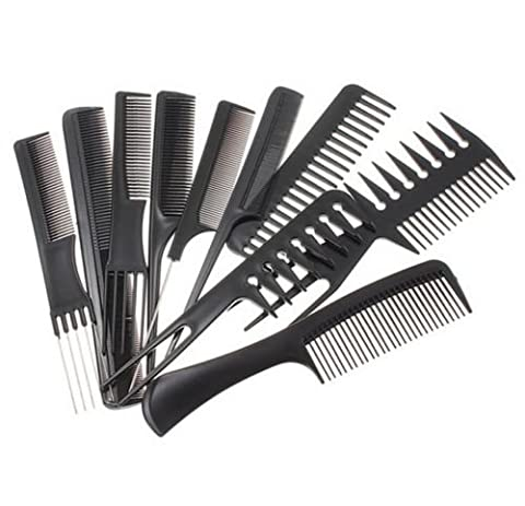 10Pcs Black Pro Salon Hair Styling Hairdressing Plastic Barbers Brush Combs Set - Rake Detangler Comb