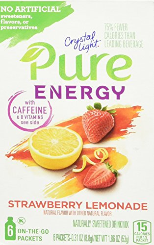 Crystal Light Pure Energy On The Go Drink Mix, Strawberry Lemonade, 6 Count, 1.86 Ounce (Pack of 8) (Crystal Lite Strawberry Lemonade)