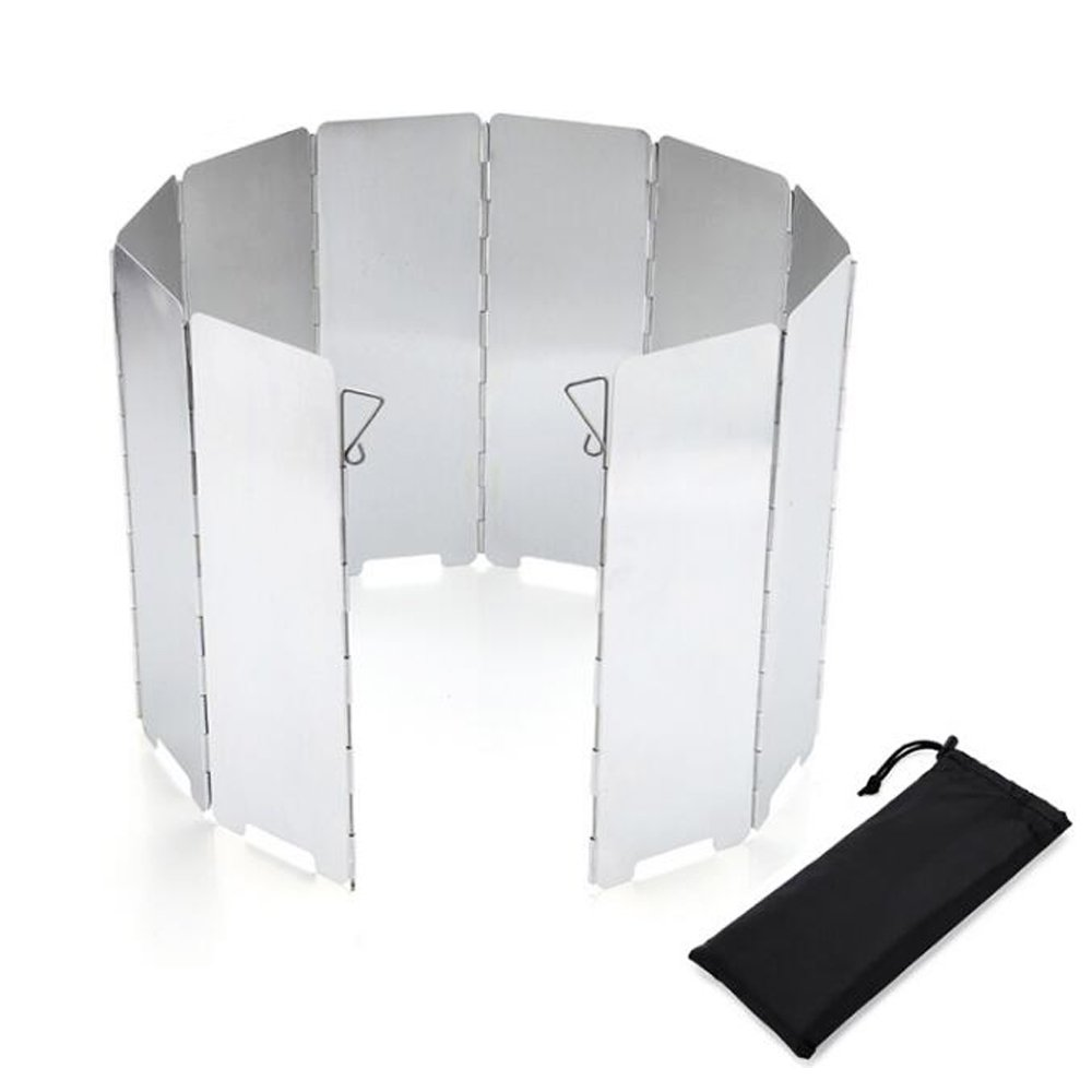 MAIYU Windscreen 10 Plates Outdoor Aluminum Folding Stove Windscreen Camp Stove Windshield For Use with Camping, Backpacking, Emergency and Survival Preparation