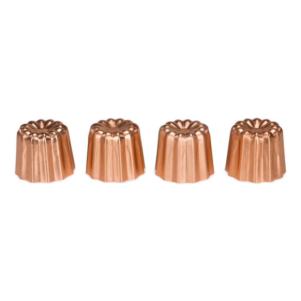 Patisse 4010 Canele Mold (Set of 4), 1-3/4'', made of Aluminum, Outer Color:Copper, Copper