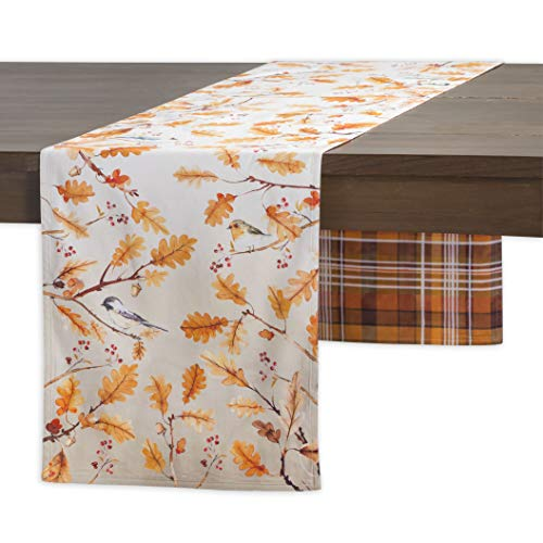 Maison d'Hermine Oak Leaves 100% Cotton Table Runner - Double Layer 14.5 Inch by 72 -