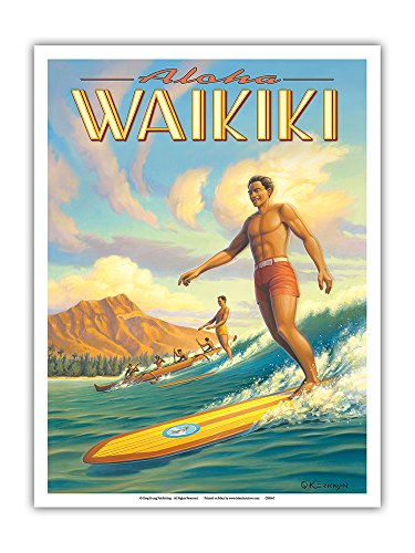 (Pacifica Island Art Aloha Waikiki - Surfing - Diamond Head - Oahu - Honolulu, Hawaii - Vintage Hawaiian Travel Poster by Kerne Erickson - Master Art Print - 9in x 12in)