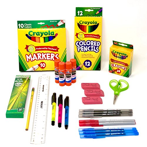 Crayola Elementary Classroom Supplies bundle 1st grade through 5th by DoodleYolk Inc.  Back to School Essentials Pack includes Only Top Brands you Trust: Elmer's, Ticonderoga, PaperMate, Bic and (Papermate Sharpie)