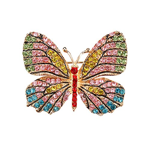 USIX Pack of 3 Winged Butterfly Rhinestone Crystal Brooch Pin for Dress, Suit, Sweater Embellishments, DIY Wedding Bouquet Cake Dress Corsage Boutonniere -