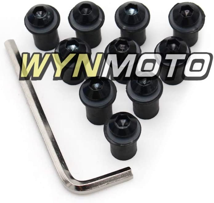 Ceramicszb Windshield Bolts Screws Well Nuts Washers For ZX10R 08 09 10 Works on OEM or Aftermarket Windshield Hardware Installation,10 Set Black Color