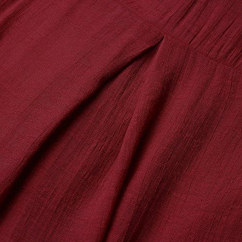 Orlo Lunghe Con Lunga Irregolare Manica Maniche Camicetta A Rosso Kobay U4YRqR