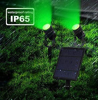 hll-036 Foco Solar Proyectores Brillo Alto Color Verde IP65 Impermeable Jardín Lamparas de Seguridad para árbol, Patio, terraza, Patio: Amazon.es: Hogar