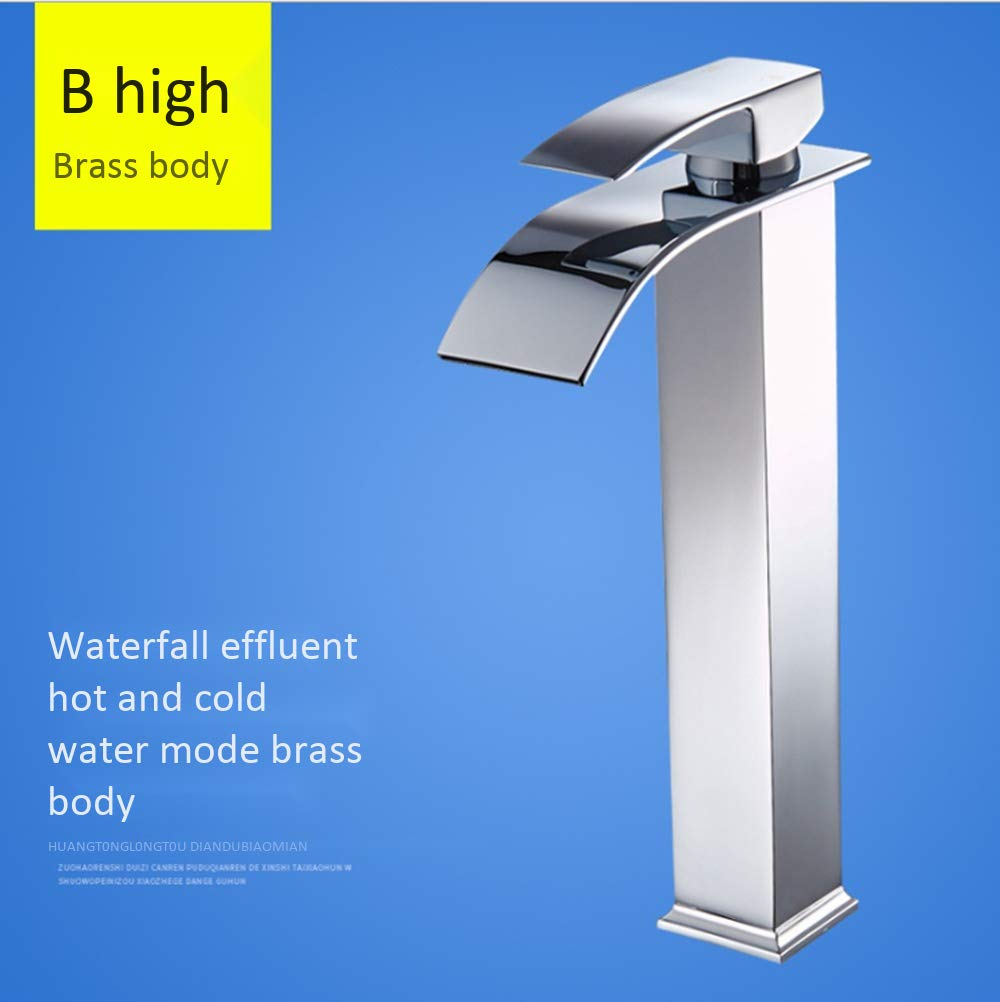 Large DDL Modern bathroom sink faucet single handle single hole waterfall sink faucet wash basin hot and cold wide mouth high body faucet,XL