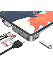 """MoKo USB C Hub Adapter for iPad Pro 3rd Generation 2018, 6 in 1 iPad Pro Docking Station Type-C Dongle -USB 3.0, 4K HDMI, 3.5mm Headphone Jack and Micro/SD Card Readers for iPad Pro 11 12.9"""" and More"""
