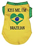 Petitebella Kiss Me I'm Brazilian Yellow Puppy Dog Cotton Shirt (XX-Large, Yellow)