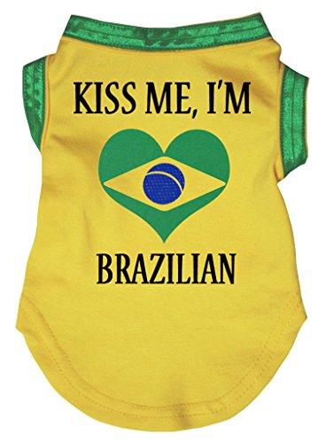 Petitebella Kiss Me I'm Brazilian Yellow Puppy Dog Cotton Shirt (XX-Large, Yellow)