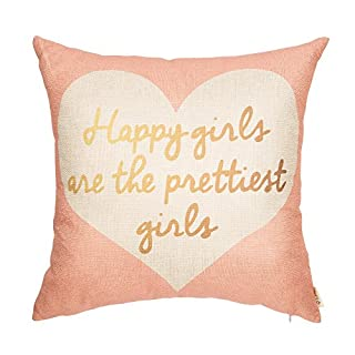 "Fjfz Nursery Decor Happy Girls are The Prettiest Girls Motivational Sign Inspirational Quote Decoration Cotton Linen Home Decorative Throw Pillow Case Cushion Cover Sofa Couch, Blush Pink, 18"" x 18"""