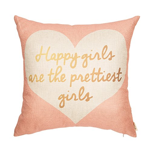 Fjfz Happy Girls are The Prettiest Girls Motivational Sign Inspirational Quote Cotton Linen Home Decorative Throw Pillow Case Cushion Cover Sofa Couch, Blush Pink and Gold, 18