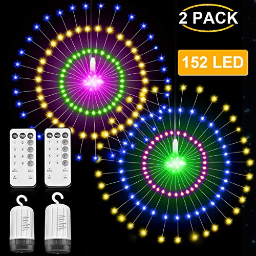 String Lights, 2 Pack 152 LED Battery Powered Hanging Starburst Lights 16 Modes Dimmable Timer Remote Control Decorative Lights for Christmas Holiday Wedding Party (Multicolor) ()