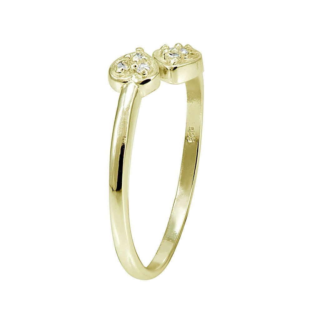 Hoops & Loops Sterling Silver Flash Plated Gold Cubic Zirconia Double Heart Toe Ring by Hoops & Loops (Image #2)