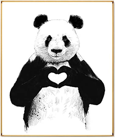 Pldzsh Triptyque Moderne Dessin Animé Mignon Panda Affiche