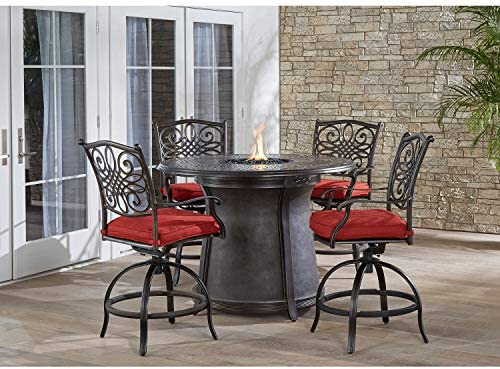 Hanover TRAD5PCFPRD-BR-R Traditions 5-Piece High-Dining Set