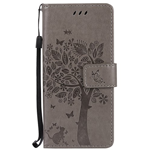 Price comparison product image NOMO Galaxy S8 Case, Samsung S8 Wallet Case, Galaxy S8 Flip Case PU Leather Emboss Tree Cat Flowers Folio Magnetic Kickstand Cover with Card Slots for Samsung Galaxy S8 Gray