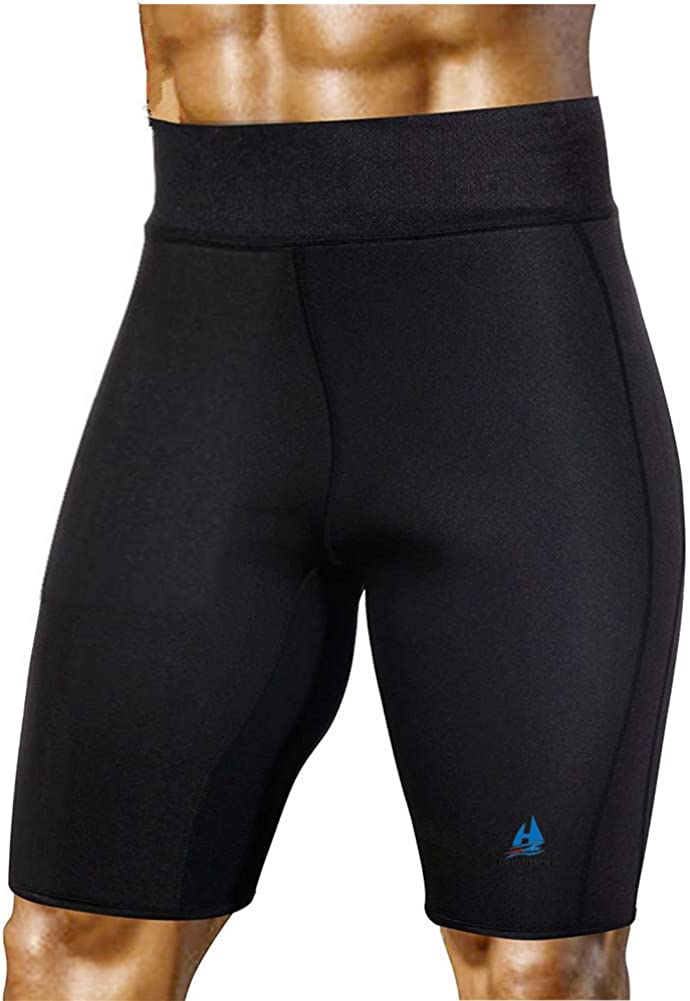 HuntDream Pantalones de Sauna para Adelgazar para Hombres Neopreno de Sudor Caliente para Bajar de Peso Quemador de Grasa Body Shaper Sudor Capris Shorts