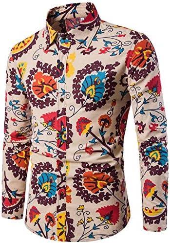 AFASSW Flannel-Camisa De Manga Larga para Camisas Hawaianas Moda Hombre Ropa De Estampados Florales Hombres Camiseta De Manga Larga Y Delgada Camisa Casual Hombre De Tela Transpirable: Amazon.es: Deportes y aire libre