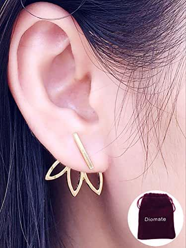 Diomate(TM) 2 pairs Lotus Flower Earrings Jewelry Simple Chic Earrings Best Gift for others