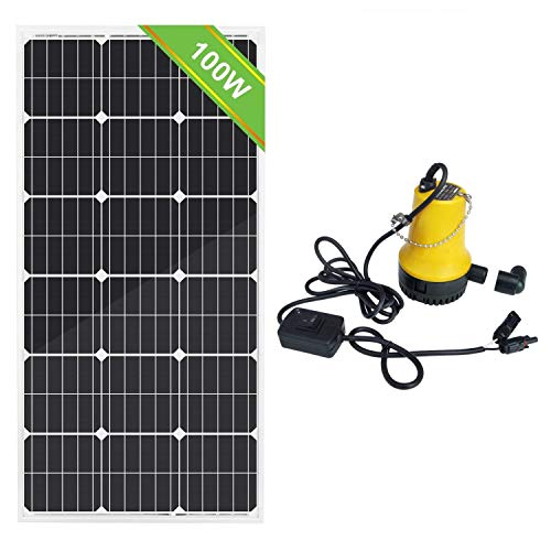 ECO-WORTHY Solar Water Pump System Kit, 100W 18V Monocrystalline Solar Panel + 50W 12V Submersible Utility Pump for Watering Sewage Irrigation Fountain