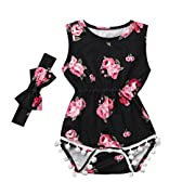 Vicbovo Clearance Sale!! Summer Baby Infant Girl Romper Floral Sleeveless Tassel Bodysuit Headband Clothes Outfit (Black, 12M)