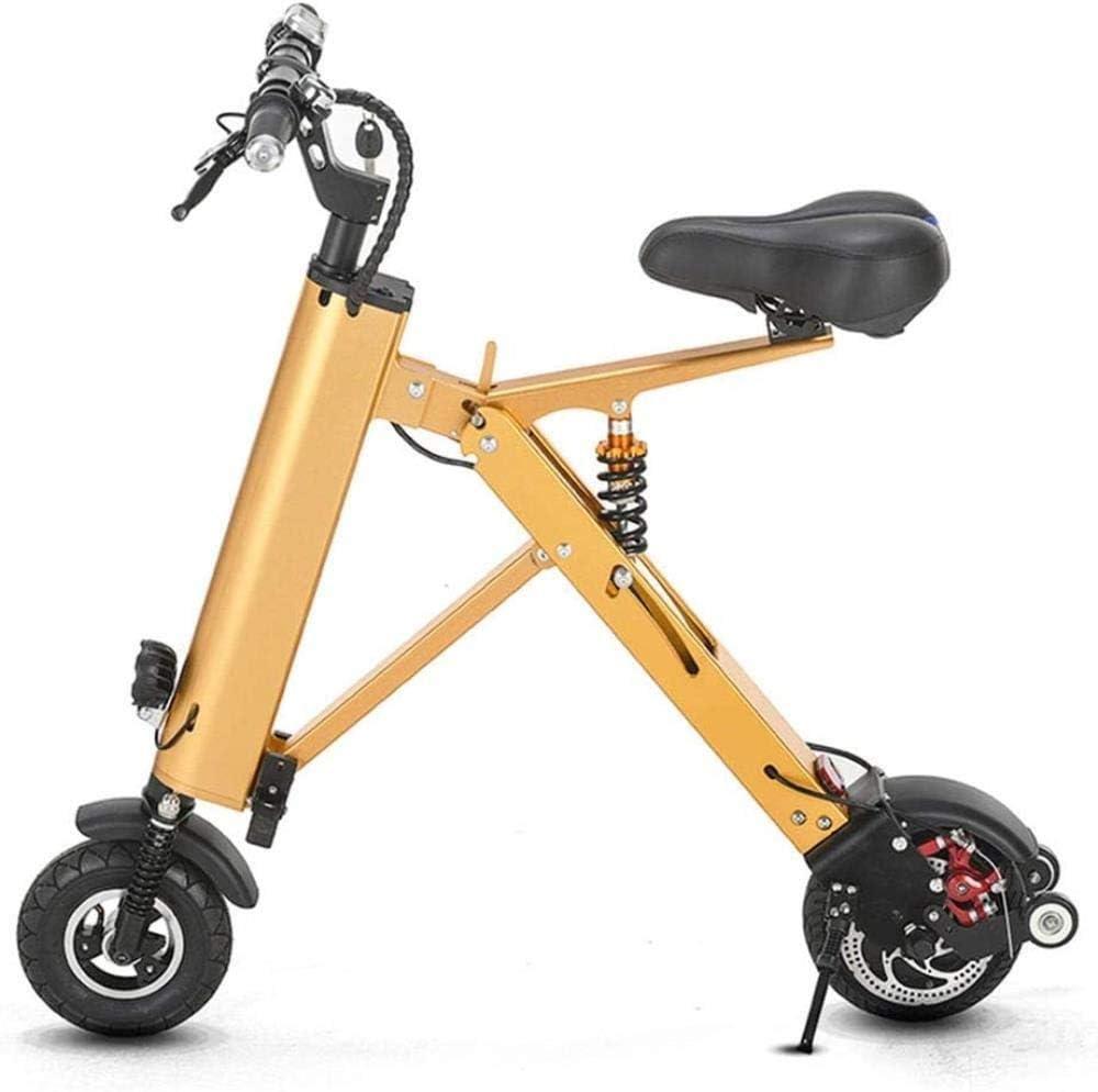Woodtree Bicicleta eléctrica Plegable, portátil Mini-Triciclo con mpfungssystem Doble D, el Motor de 36V 350W, Sistema de Ciclo de Velocidad Fija, Color: Negro (Color : Yellow)