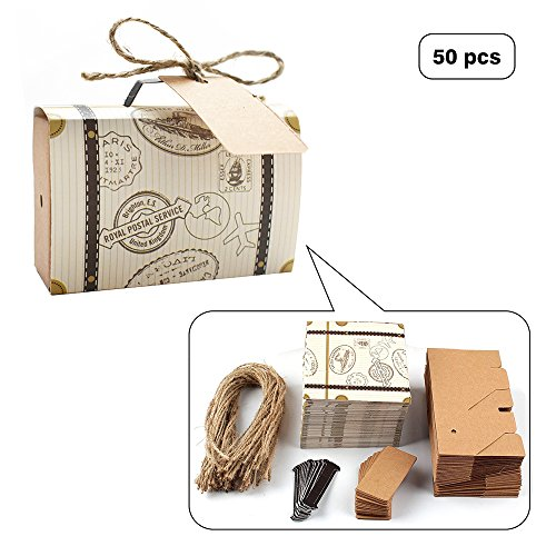 E-Goal 50Pcs/Pack Mini Suitcase Wedding Favor Candy Box for Wedding Party Decoration - Luggage Favor Box